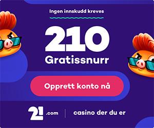 210 gratisspinn uten innskudd til nytt nettcasino